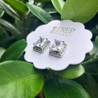 Emerald Cut Kate Studs with Pave Surround