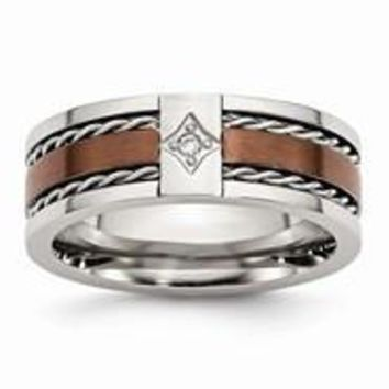 Stainless Steel Chocolate IP-plated w/Diamond 8mm Polished Wedding Band Ring