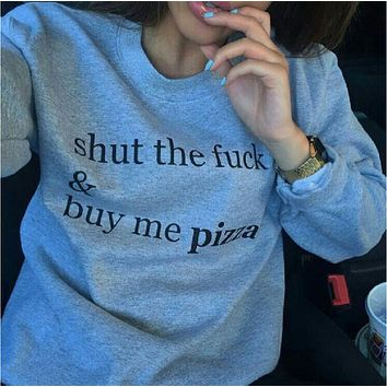 LMFIH3 Gray round neck fashion personality sweater men and women with the same shut and buy me pizza