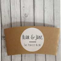 Custom Coffee Sleeves, 24 Paper Coffee Sleeves, Hot Tea or Cocoa Cup Cuffs