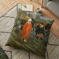 'Ryabushkin - Seventeenth-Century Moscow Street on a Public Holiday ' Floor Pillow by IMPACTEES