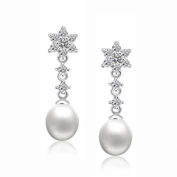 Sterling Silver Star W. Freshwater Cultured Pearl and Cubic Zirconia Earrings