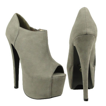 Womens Ankle Boots Suede Peep Toe Platform High Heel Shoes Gray SZ 6H