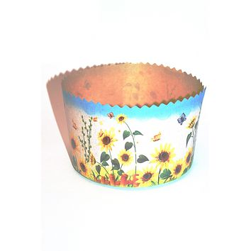 "Easter bread baking paper form ""Sunflowers"". 5 inches - 3.5 inches. 500 grams Paska"
