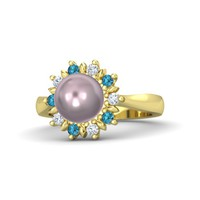 Sphere Lavender Cultured Pearl 14K Yellow Gold Ring with London Blue Topaz & Diamond