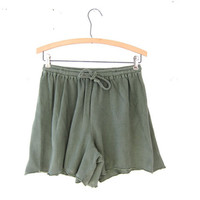 vintage cotton shorts / sage green shorts / drawstring shorts