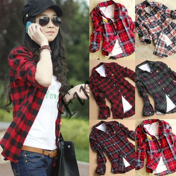 Women Button Cotton Casual Lapel Shirt Plaids Checks Flannel Shirt Top Blouse  SV001033 = 1904605508
