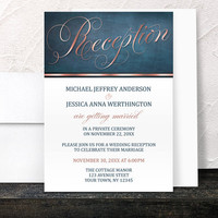 Reception Only Invitations - Copper Navy Blue Elegant invitations and RSVP - Copper Reception - Printed Invitations