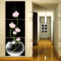 3 panel Free shipping Hot Sell Beautiful Pink Flower Modern Wall Painting Home Decor Picture Print on Canvas Framed Art T/432