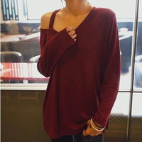 Fashion Trending Fashion Casual Loose Off Shoulder Round Necked T-shirt Top b4677