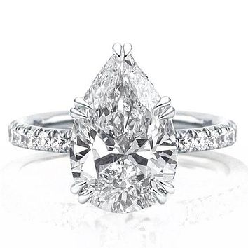 A Perfect 4.4CT Pear Cut Russian Lab Diamond Ring