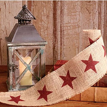 Vintage Merry Christmas Star Burlap Ribbon - 10-ft (Burgundy Stars Only 4-in)