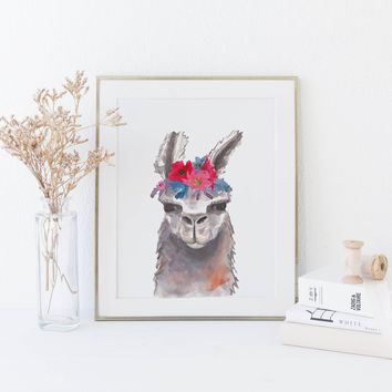 Bohemian Llama Watercolor Art Print
