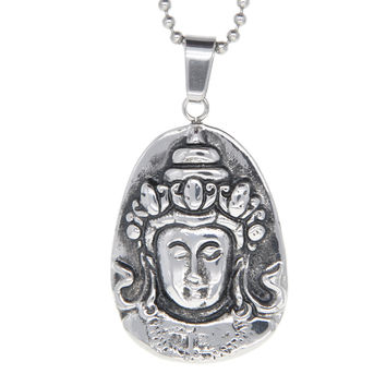 Dear Deer Stainless Steel Buddha Medallion Pendant Necklace