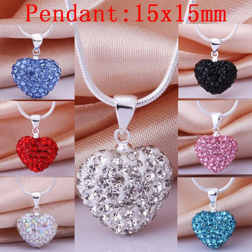silver plated prata jewellry charms shamballa crystal 15x15mm big heart pendant Necklace for women
