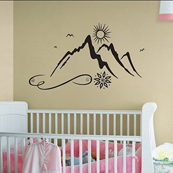 Mountains and Sun Vinyl Wall Decal Sticker Graphic