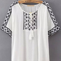 White Tassel Tie Round Neckline Tribal Embroidered Blouse