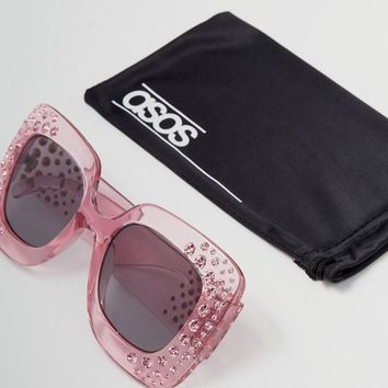 ASOS Oversized Square Embellished Sunglasses at asos.com