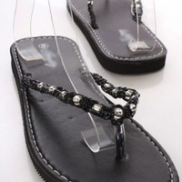 Black Faux Leather Bead Woven Thong Strap Slip On Foam Sandals