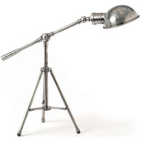 Antique Nickel Industrial Tripod Table Lamp