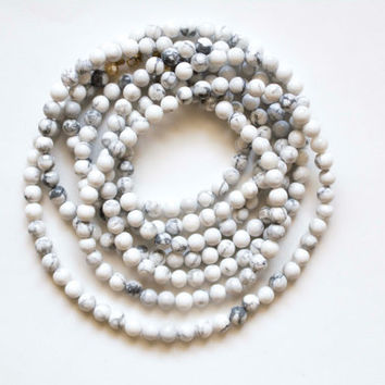 White Marble Double Wrap Necklaces