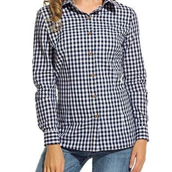 ELESOL Womens VNeck Long Sleeve Loose Casual Button Down Plaids Shirt Blouses