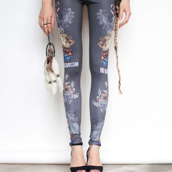 Multicolor Romance is dead* *Not - grey leggings with floral prints