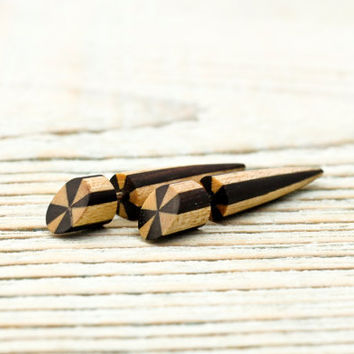 Spike Fake Gauges Earrings Wooden Earrings Tribal by organicethnic