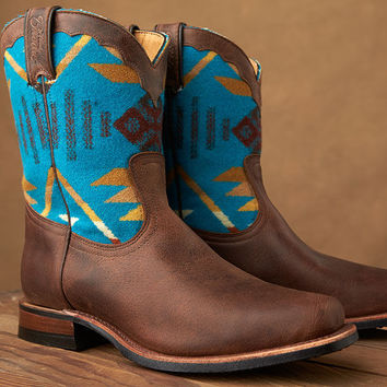 Paul Brodie Women's Boulet Boots - Pendleton® Wool Coyote Butte Turquoise