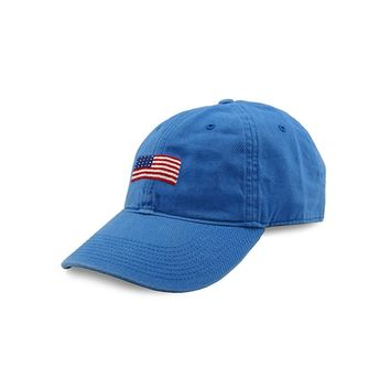 American Flag Needlepoint Hat in Royal by Smathers & Branson