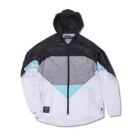 Diamond Windbreaker in Black/Diamond Blue/White