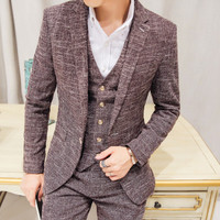 Casual Plaid Slim fit vintage mens suits