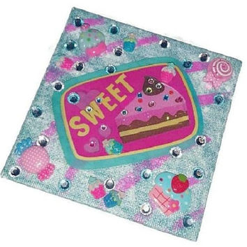 Giant KAWAII SWEET Desserts MAGNET Cupcakes & Candy Bakery Kitchen Decor Turquoise Pink Sparkly Birthday Cake Cute Food Locker Fridge Magnet