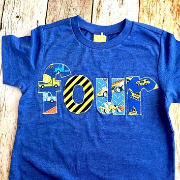 Royal blue 4 Construction truck birthday shirt four years old 4th boys outfit dumptruck loader digger semi dump cement backhoe car builder