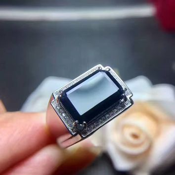 Natural black blue sapphire Ring Natural gemstone Ring S925 sterling silver Retro luxury big Square Men male party gift Jewelry