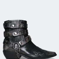Rodeo Ankle Distressed Buckle Boot
