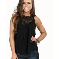 Panhandle Women's Black with Crochet Sleeveless Top
