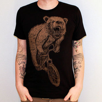 BICYCLE Tshirt Bear on a Bike Unisex American by darkcycleclothing