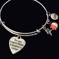 Mother Daughter Forever Love Little Lady Bug Expandable Charm Bracelet Silver Adjustable Bangle Gift