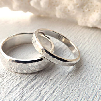Rustic Silver Ring Set Wedding Rings Two Hammered