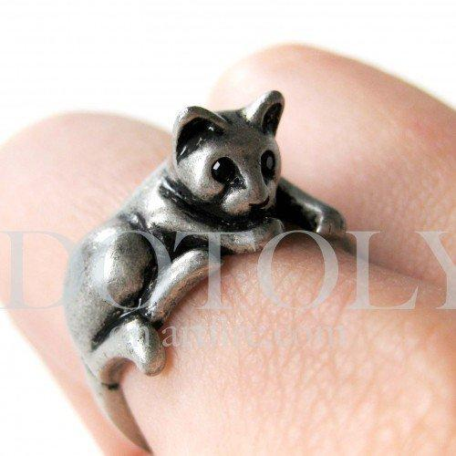 Miniature Kitty Cat Ring in Silver Sizes 5 to 9 available   dotoly - Jewelry on ArtFire