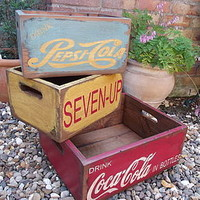 Set Of Three Reclaimed Wooden Crates
