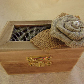 Shabby Rustic Woodland Cottage CHic Wedding Ringbearer Box With Burlap FLower and Pearl