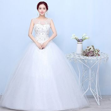 white lace wedding dress simple double shoulder round collar