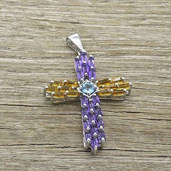 Estate Sterling Silver Cross Pendant with Amethyst and Citrine Gemstones 925