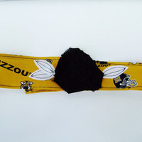 Mizzou fabric flower headband, College Football Basketball Volleyball Softball Cheer Marching Band