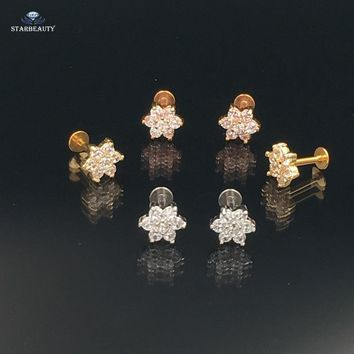 2 pcs/lot Cute Star Cartilage Piercing 16G Stud Earrings AAA Zircon Tragus Piercing Nice Ear Piercings Body Jewelry Flat End