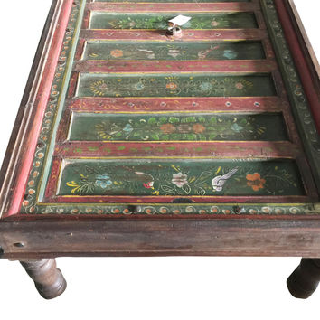 Antique Coffee Table INDIAN Floral Hand Painted Rectangle Green Table JAIPUR