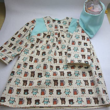 Organic cotton jersey dress with Friends Forever Motive Size 3-4T