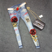 2016 Sequins Jeans Women Club Style Street Beat  Holes Jeans Ripped Jeans High Waist Floral Jeans 1142